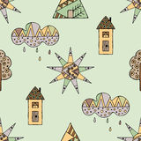 Vector hand drawn seamless pattern, decorative stylized childish house, tree, sun, cloud, rain Doodle style, graphic illustration Royalty Free Stock Images