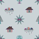 Vector hand drawn seamless pattern, decorative stylized childish house, tree, sun, cloud, rain Doodle style, graphic illustration Royalty Free Stock Photo