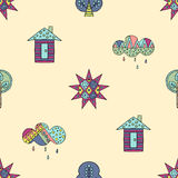 Vector hand drawn seamless pattern, decorative stylized childish house, tree, sun, cloud, rain Doodle style, graphic illustration Stock Photos