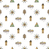 Vector hand drawn seamless pattern, decorative stylized childish house, tree, sun, cloud, rain Doodle style, graphic illustration Royalty Free Stock Photography