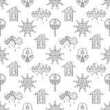 Vector hand drawn seamless pattern, decorative stylized childish house, tree, sun, cloud, rain Doodle style, graphic illustration Royalty Free Stock Image