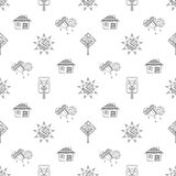 Vector hand drawn seamless pattern, decorative stylized childish house, tree, sun, cloud, rain Doodle style, graphic illustration Royalty Free Stock Photos