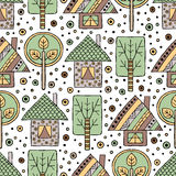 Vector hand drawn seamless pattern, decorative stylized childish house, trees Doodle style tribal graphic illustration. Ornamental Royalty Free Stock Images