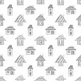 Vector hand drawn seamless pattern Decorative stylized childish houses Doodle style, graphic illustration Ornamental cute hand dra Royalty Free Stock Photos