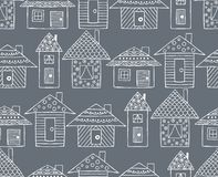 Vector hand drawn seamless pattern, decorative stylized childish houses Line drawing Doodle style, graphic illustration Ornamental. Cute hand drawing Series of Royalty Free Stock Photo