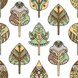 Vector hand drawn seamless pattern, decorative stylized childish trees. Doodle style, tribal graphic illustration Cute hand drawin Royalty Free Stock Images