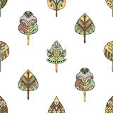 Vector hand drawn seamless pattern, decorative stylized childish trees. Doodle style, tribal graphic illustration Cute hand drawin Royalty Free Stock Photography