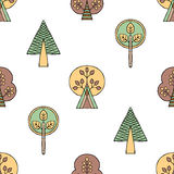 Vector hand drawn seamless pattern, decorative stylized childish trees. Doodle style, tribal graphic illustration Cute hand drawin Stock Images