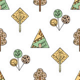 Vector hand drawn seamless pattern, decorative stylized childish trees. Doodle style, tribal graphic illustration Cute hand drawin Royalty Free Stock Photo