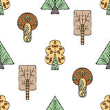 Vector hand drawn seamless pattern, decorative stylized childish trees. Doodle style, tribal graphic illustration Cute hand drawin Royalty Free Stock Image