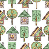 Vector hand drawn seamless pattern Decorative stylized childish trees, house Doodle style, tribal graphic illustration Ornamental Royalty Free Stock Photo