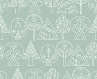 Vector hand drawn seamless pattern, decorative stylized childish trees. Line drawing Doodle style, tribal graphic illustration. Cu. Te hand drawing Series of Stock Photos