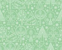Vector hand drawn seamless pattern, decorative stylized childish trees. Line drawing Doodle style, tribal graphic illustration. Cu. Te hand drawing Series of Stock Image