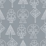 Vector hand drawn seamless pattern, decorative stylized childish trees. Line drawing Doodle style, tribal graphic illustration. Cu. Te hand drawing Series of Royalty Free Stock Photos