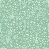 Vector hand drawn seamless pattern, decorative stylized childish trees. Line drawing Doodle style, tribal graphic illustration. Cu. Te hand drawing Series of Royalty Free Stock Images