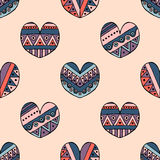 Vector hand drawn seamless pattern, decorative stylized childlike hearts. Doodle style, tribal graphic illustration Cute hand draw Stock Photo