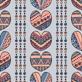 Vector hand drawn seamless pattern, decorative stylized childlike hearts. Doodle style, tribal graphic illustration Cute hand draw Royalty Free Stock Photos