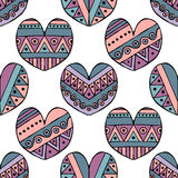 Vector hand drawn seamless pattern, decorative stylized childlike hearts. Doodle style, tribal graphic illustration Cute hand draw Stock Photos