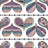 Vector hand drawn seamless pattern, decorative stylized childlike hearts. Doodle style, tribal graphic illustration Cute hand draw Royalty Free Stock Image