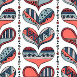 Vector hand drawn seamless pattern, decorative stylized childlike hearts. Doodle style, tribal graphic illustration Cute hand draw Stock Images