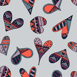 Vector hand drawn seamless pattern, decorative stylized childlike hearts. Doodle style, tribal graphic illustration Cute hand draw Stock Photography