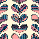 Vector hand drawn seamless pattern, decorative stylized childlike hearts. Doodle style, tribal graphic illustration Cute hand draw Stock Image