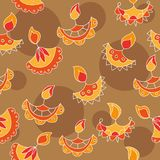 Vector hand drawn seamless pattern with Diwali symbols. holiday background Royalty Free Stock Photos