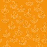 Vector hand drawn seamless pattern with Diwali symbols. holiday background Stock Image