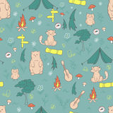 Vector hand drawn seamless pattern with funny camping stuff  Royalty Free Stock Photo