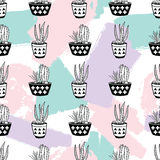 Vector hand drawn seamless pattern with geometric and brush painted elements, cactuses and succulents in pots Stock Image