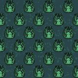 Vector hand drawn seamless pattern with green octopuses in the bottles. On the textured backgeound. Witchcraft design Vector Illustration