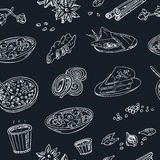 Vector hand drawn seamless pattern Indian cuisine: traditional spicy flavored dishes, desserts, beverages. Royalty Free Stock Photos