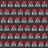 Vector hand drawn seamless pattern with japanese temples contourpattern with japanese temples contours and red sun on dark gray ba Royalty Free Stock Image