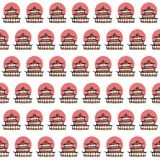 Vector hand drawn seamless pattern with japanese temples and red sun on white background Royalty Free Stock Photo