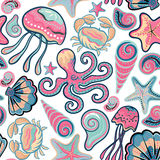 Vector hand drawn seamless pattern with jellyfish, shells, starfish, octopus and crabs. Ocean background.  Royalty Free Stock Photos