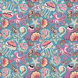 Vector hand drawn seamless pattern with jellyfish, shells, starfish, octopus and crabs. Ocean background Stock Photos