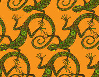 Vector hand drawn seamless pattern with  lizards  or salamanders Royalty Free Stock Image