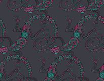 Vector hand drawn seamless pattern with  lizards  or salamanders Stock Image