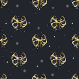 Vector hand drawn seamless pattern with lush golden bows.  Stock Images