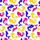 Vector hand drawn seamless pattern. Mermaids. Blue, yellow and red colors on white backdrop. Stock Image
