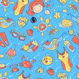 Vector hand drawn seamless pattern. Mom and baby. Swimming for p Royalty Free Stock Photos