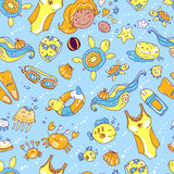Vector hand drawn seamless pattern. Mom and baby. Swimming  Stock Photo