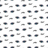 Vector hand drawn seamless pattern with open and winking eyes and lashes isolated on white. Fashion background Stock Photography