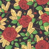 Vector hand drawn seamless pattern of red rose flowers with buds, leaves, thorny stems and crystals on the black dotted background Royalty Free Stock Photography