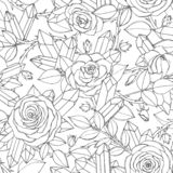 Vector hand drawn seamless pattern of rose flowers with buds, leaves, thorny stems and crystals line art Royalty Free Stock Photography
