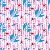 Vector hand drawn seamless pattern. Sea plants and sea stars. Blue and red colors on white backdrop. Royalty Free Stock Photo