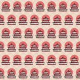 Vector hand drawn seamless pattern with sketchy japanese temples and red sun on the wavy background. Stock Image