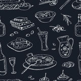 Vector hand drawn seamless pattern spanish cuisine: soup, liver in garlic Paella, meal with rice and seafood, fried Royalty Free Stock Images