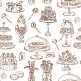 Vector hand drawn seamless pattern  with sweets and candies. Stock Photography