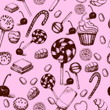 Vector hand drawn seamless pattern with sweets and candies. Vintage illustration for design menus, recipes and packages Stock Photography